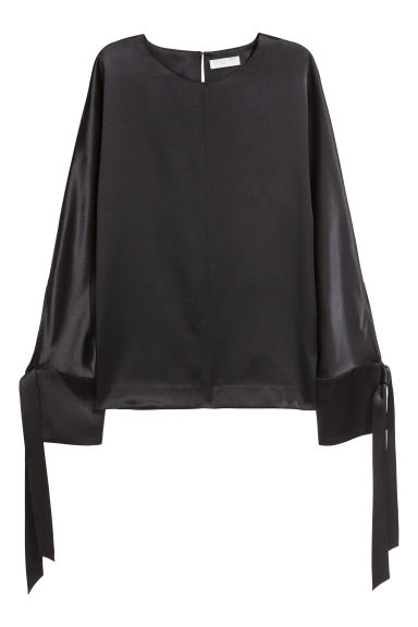 Silk blouse - Black -  | H&M IE