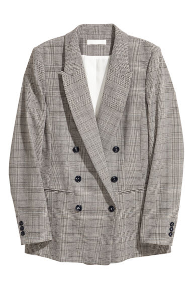 Double-breasted jacket - Natural white/Black checked -  | H&M