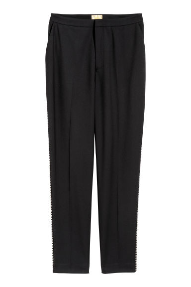 Suit trousers with studs - Black -  | H&M CN