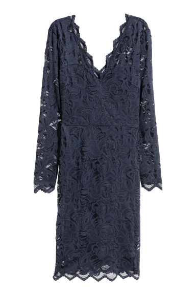 Abito aderente in pizzo - Blu scuro - DONNA | H&M IT