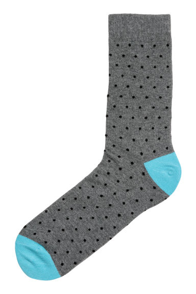 Spotted socks - Dark grey/Black spotted - Men | H&M CN