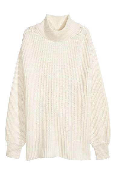 Ribbed jumper - Natural white - Ladies | H&M CN