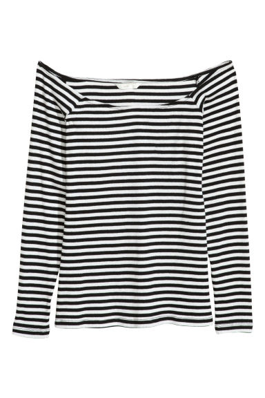 Off-the-shoulder top - White/Black striped -  | H&M IE