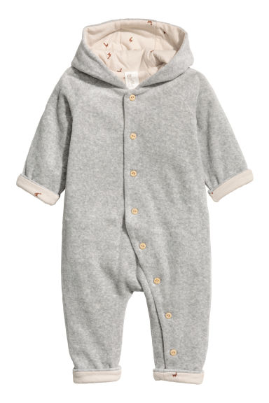 Velour all-in-one suit - Light grey marl - Kids | H&M CN