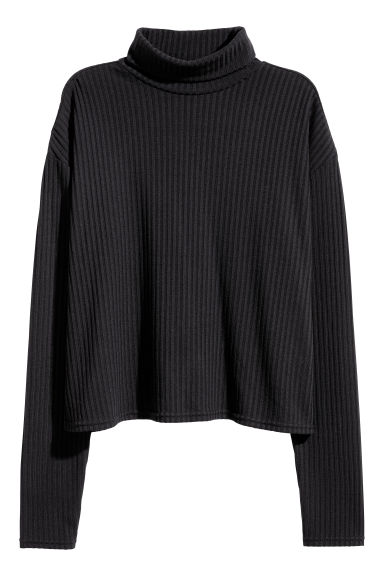 Ribbed polo-neck jumper - Black - Ladies | H&M