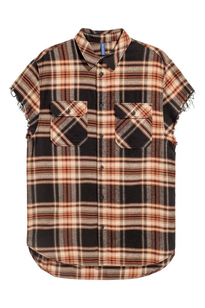 Short Sleeved Flannel Shirt Dark Beige Black Checked Men H M Gb