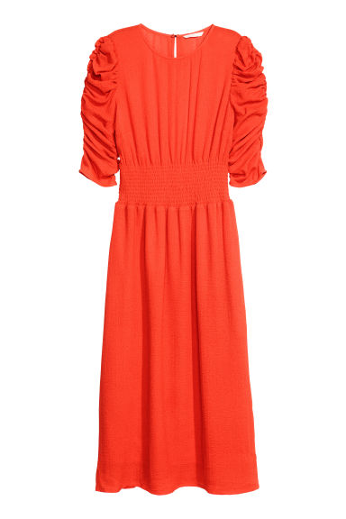 Dress with smocking - Neon orange - Ladies | H&M