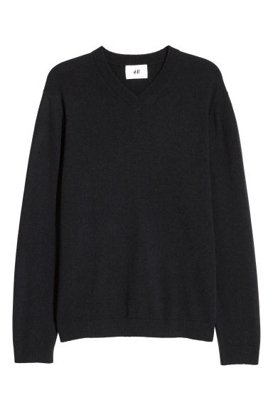 V-neck cashmere jumper - Black -  | H&M