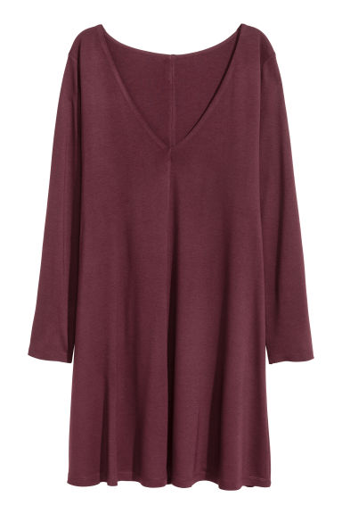 V領平紋洋裝 - Burgundy - Ladies | H&M