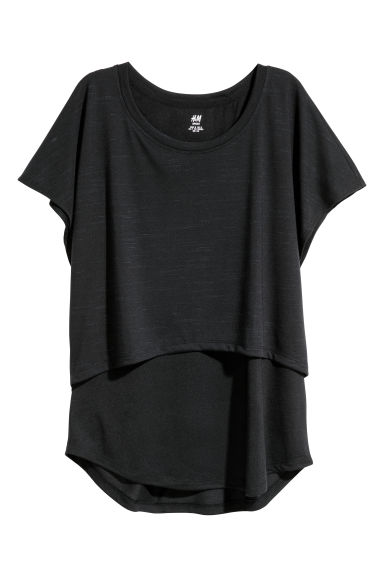 Double-layered sports top - Black -  | H&M