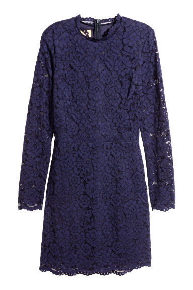 Short lace dress - Dark purple - Ladies | H&M CN