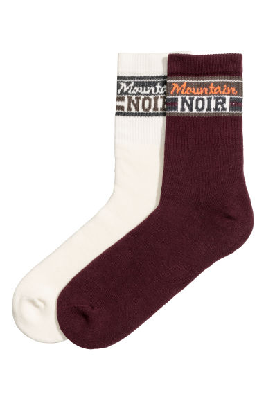 2-pack socks - Burgundy/Natural white - Men | H&M