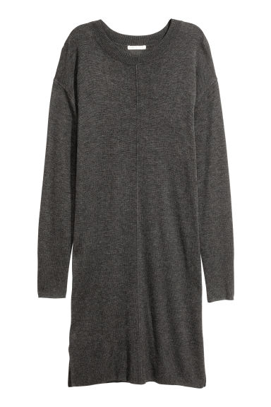 Fine-knit dress - Dark grey -  | H&M GB
