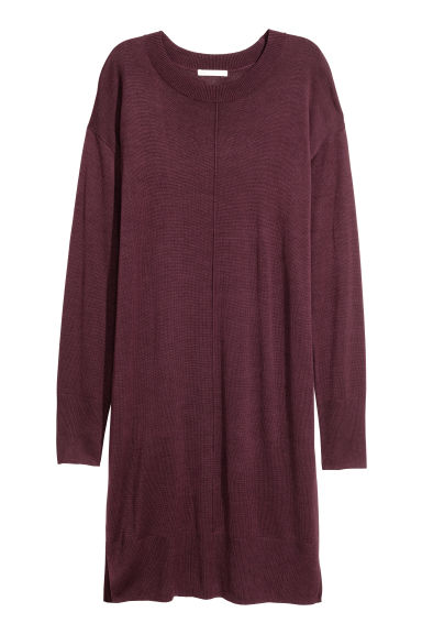 Fine-knit dress - Burgundy -  | H&M