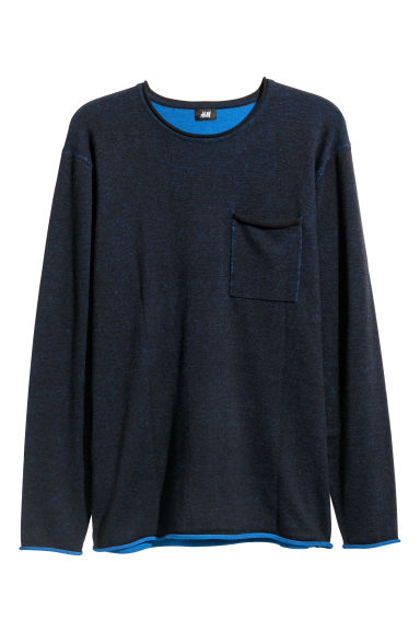Melange Sweater - Dark blue melange - Men | H&M CA
