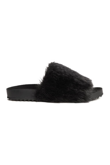 Slides with faux fur - Black - Ladies | H&M CN