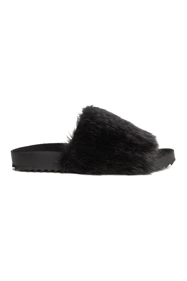563da77ce3c Slides with faux fur - Black - Ladies