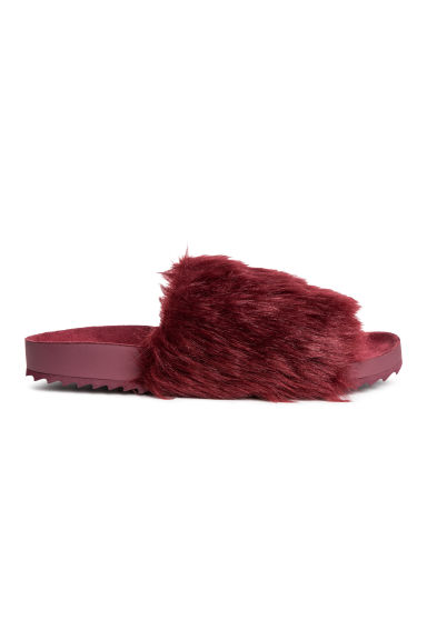 Slides with faux fur - Burgundy -  | H&M