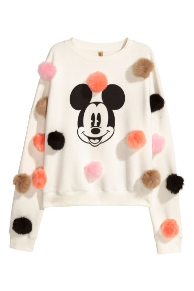 Sweatshirt with pompoms - White/Mickey Mouse - Ladies | H&M CN