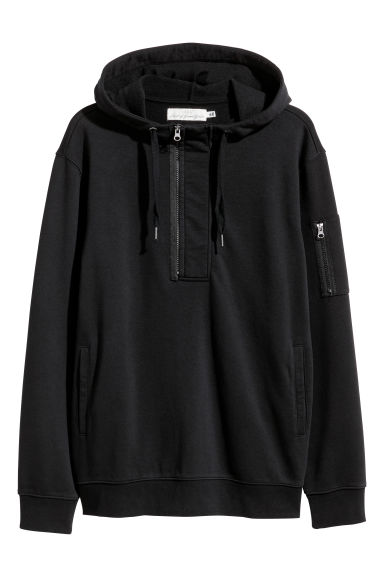 Hooded top with a zip - Black -  | H&M