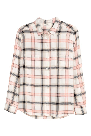 H&M+ Flannel shirt - Natural white/Checked -  | H&M GB