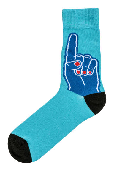 Jacquard-knit socks - Turquoise/Hand - Men | H&M IE