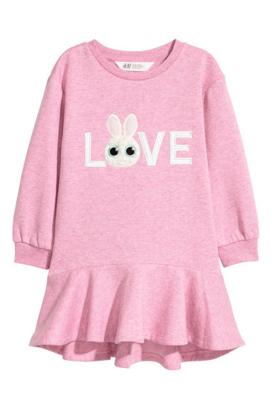 Robe en molleton - Rose chiné/Love -  | H&M FR