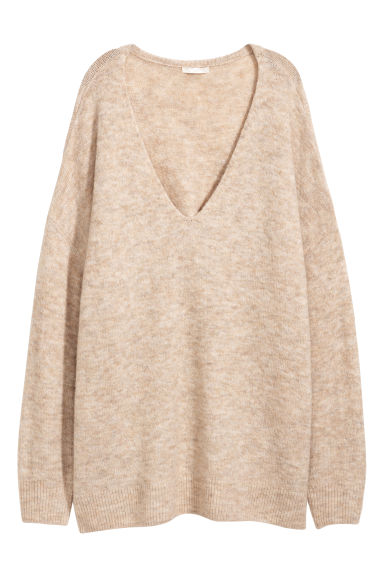 H&M+ V-neck jumper - Light beige - Ladies | H&M IE