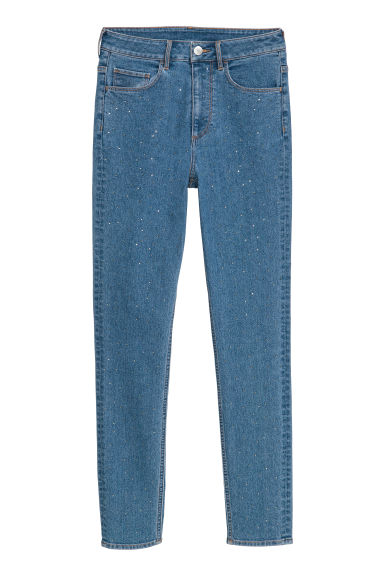 Slim High Ankle Jeans - Blue/Sparkly stones - Ladies | H&M