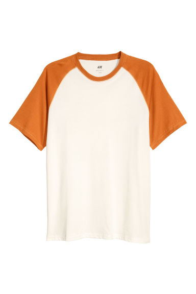 T-shirt with raglan sleeves - White/Dark yellow - Men | H&M CN