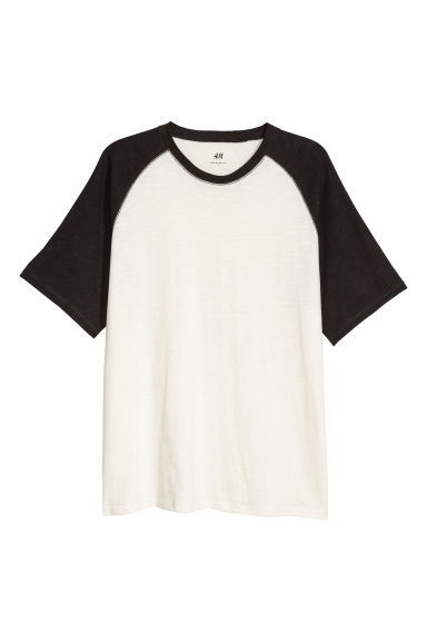 T-shirt with raglan sleeves - White/Black - Men | H&M