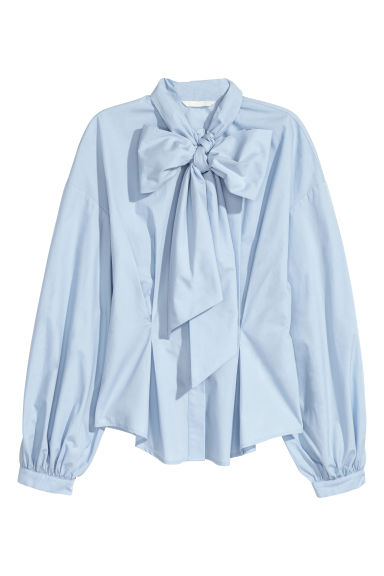 Cotton blouse with a wide tie - Light blue - Ladies | H&M IE