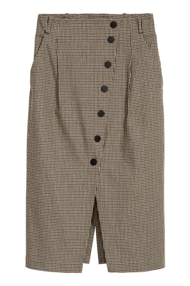 Dogtooth-patterned skirt - Beige/Dogtooth - Ladies | H&M CN
