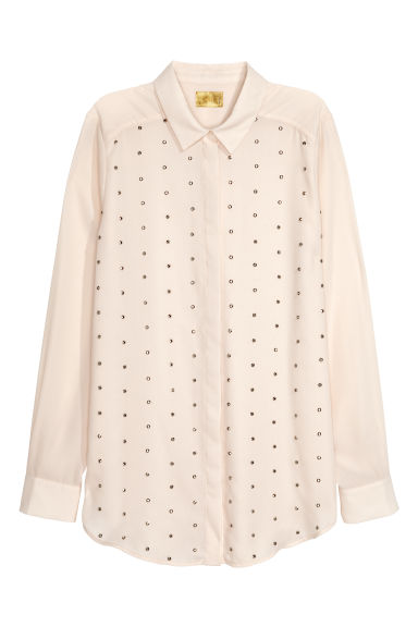Blouse with studs - White -  | H&M