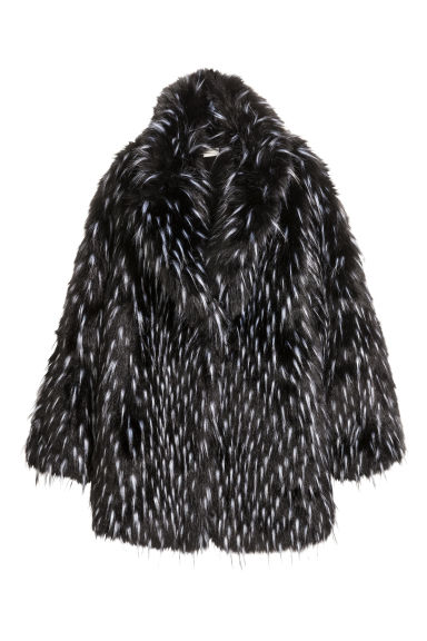 Faux fur coat - Black -  | H&M