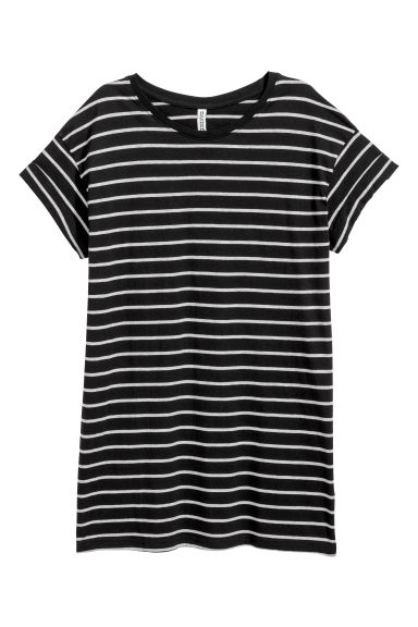 Long T-shirt - Black/Grey striped - Ladies | H&M
