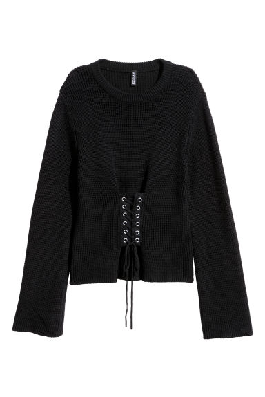 Knitted jumper with lacing - Black -  | H&M