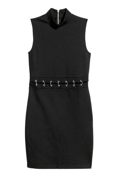 Fitted jersey dress - Black - Ladies | H&M