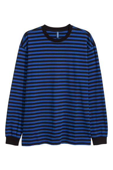 Long-sleeved jersey top - Bright blue/Black striped -  | H&M