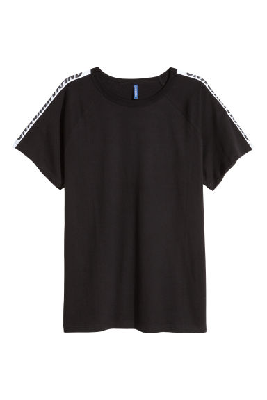 T-shirt with raglan sleeves - Black -  | H&M GB