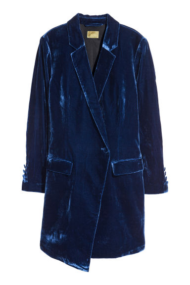 Velvet jacket - Dark blue -  | H&M IE