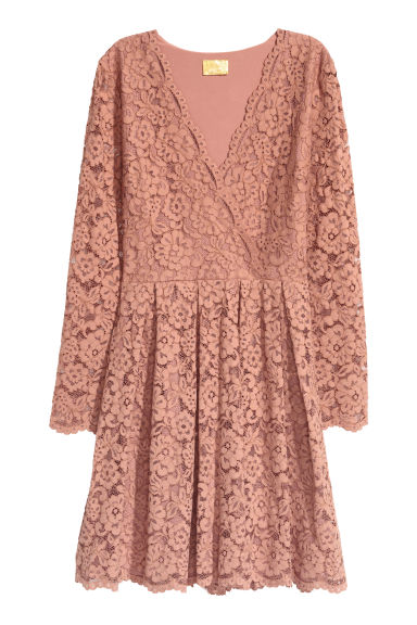 Lace V-neck dress - Dark powder pink - Ladies | H&M