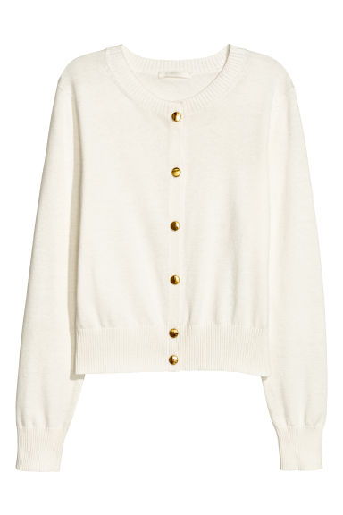 Fine-knit cotton cardigan - Natural white - Ladies | H&M GB