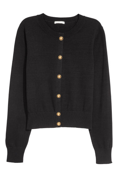 Fine-knit cotton cardigan - Black - Ladies | H&M