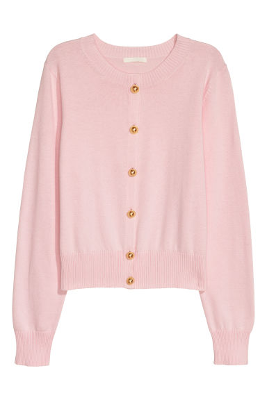 Fine-knit cotton cardigan - Pink - Ladies | H&M IE