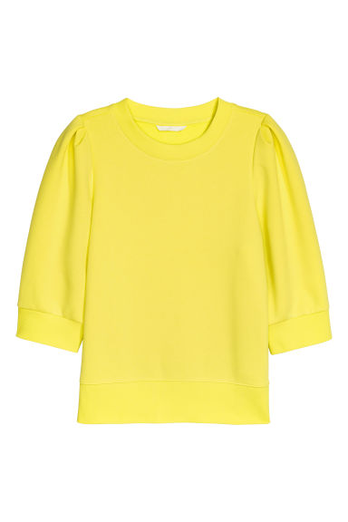 Puff-sleeved sweatshirt - Neon yellow - Ladies | H&M