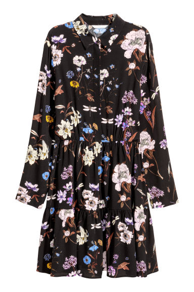 Shirt dress - Black/Floral - Ladies | H&M GB