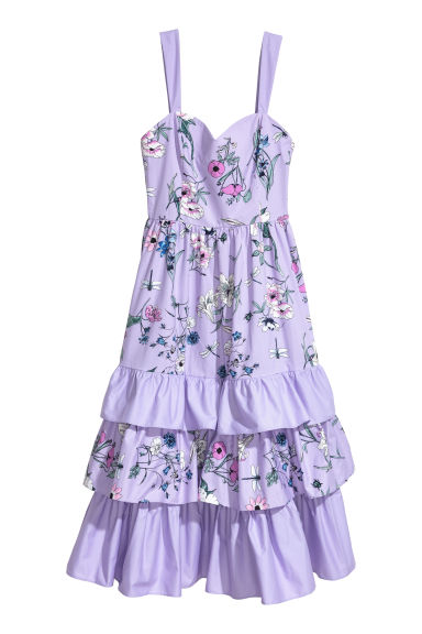 Long tiered dress - Light purple/Floral -  | H&M
