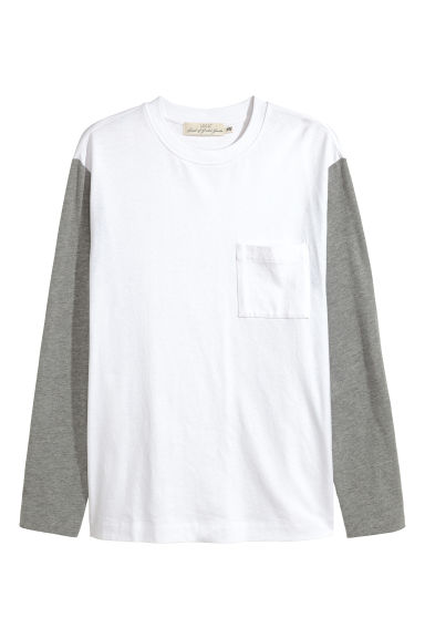 Long-sleeved top - White/Grey marl -  | H&M IE