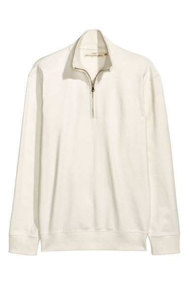Stand-up collar sweatshirt - White -  | H&M